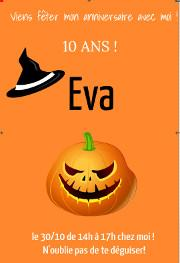 invitations personnalisee halloween fille