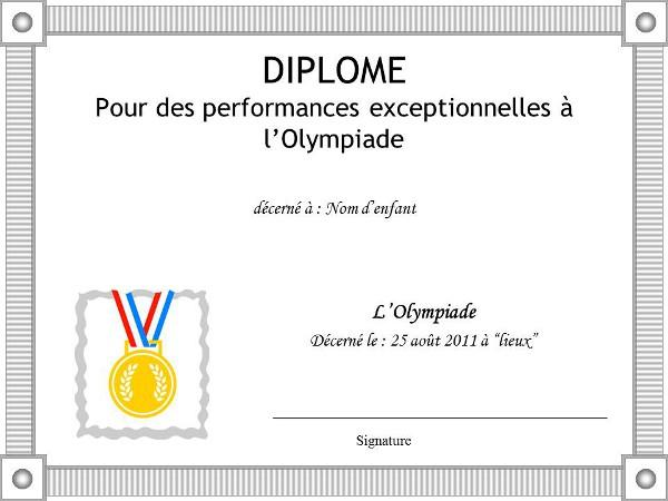 Diplome olympiades enfants